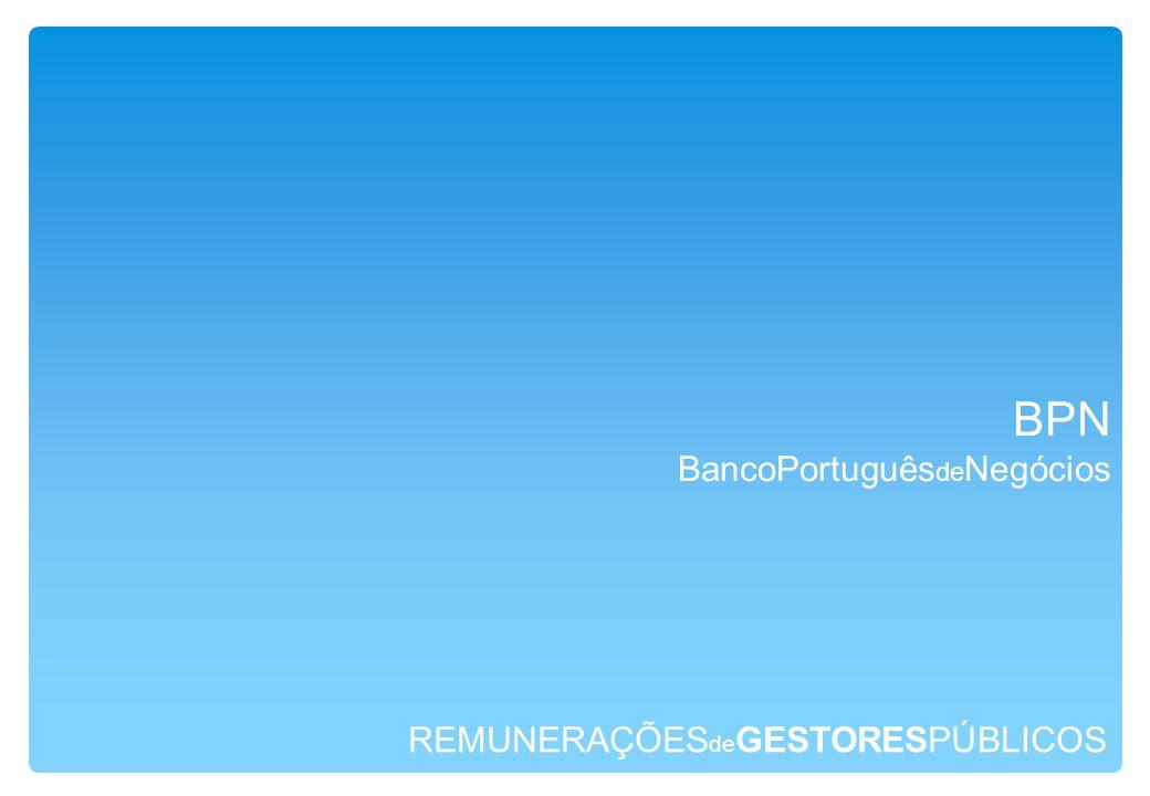 REMUNERAÇÕES de GESTORESPÚBLICOS BPN BancoPortuguês de Negócios