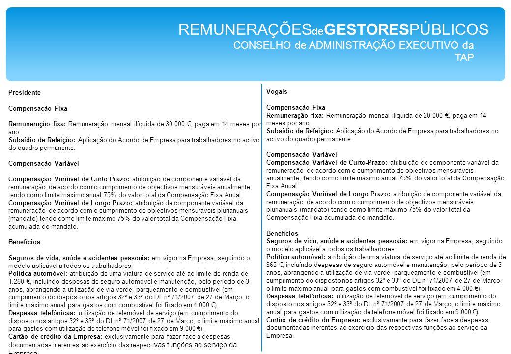 CONSELHO de ADMINISTRAÇÃO da Baía do Tejo REMUNERAÇÕES de GESTORESPÚBLICOS ESTATUTO REMUNERATÓRIO As remunerações principais e acessórias em vigor durante o ano de 2009 para os membrosdo Conselho de Administração foram as seguintes: a)Remunerações principais - Vice-Presidente executivo (Dr.