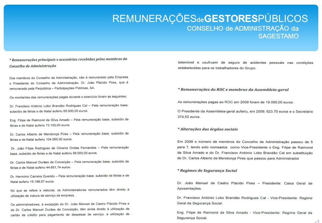 CONSELHO de ADMINISTRAÇÃO da SAGESTAMO REMUNERAÇÕES de GESTORESPÚBLICOS