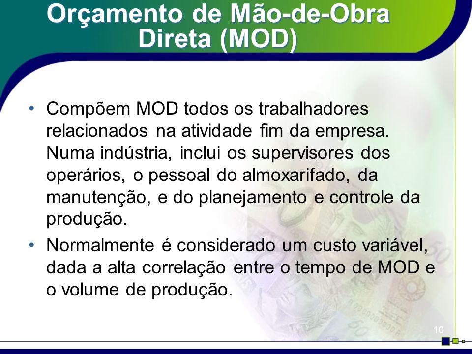 10 Orçamento de Mão-de-Obra Direta (MOD) Compõem MOD todos os trabalhadores relacionados na atividade fim da empresa. Numa indústria, inclui os superv