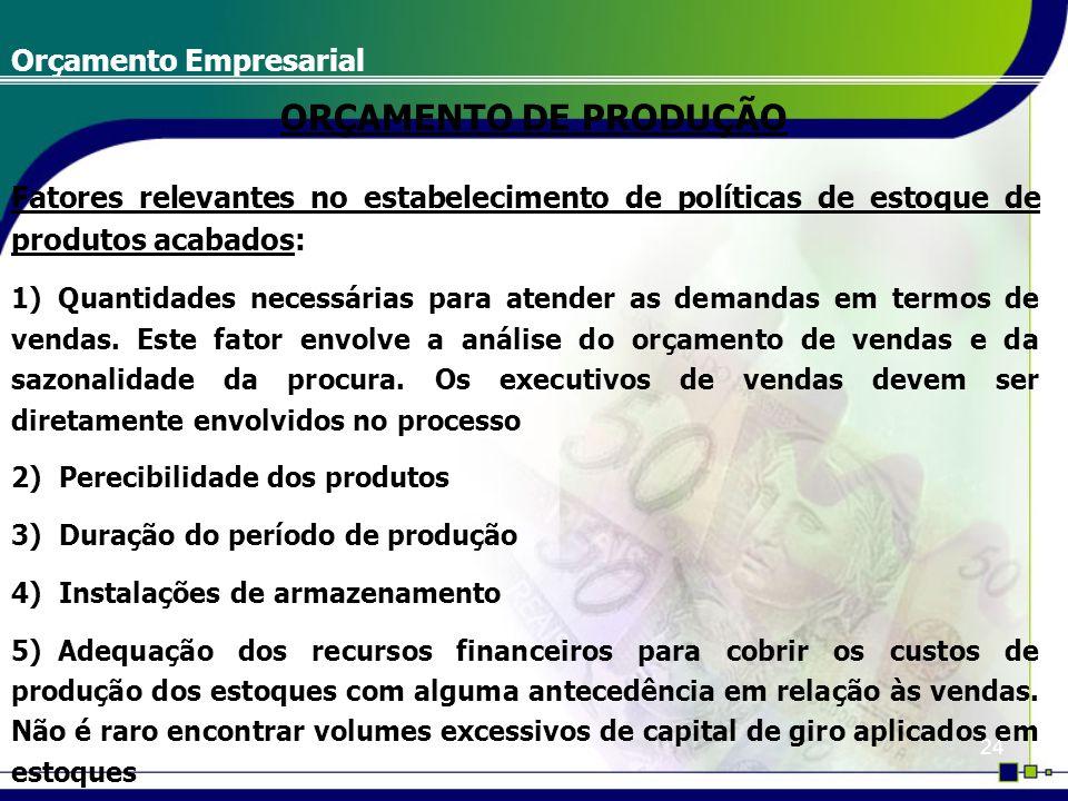 24 Orçamento Empresarial Fatores relevantes no estabelecimento de políticas de estoque de produtos acabados: 1) Quantidades necessárias para atender a