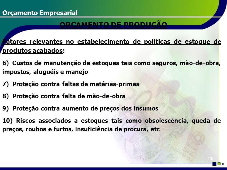 25 Orçamento Empresarial Fatores relevantes no estabelecimento de políticas de estoque de produtos acabados: 6) Custos de manutenção de estoques tais