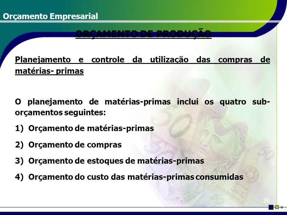 26 Orçamento Empresarial Planejamento e controle da utilização das compras de matérias- primas O planejamento de matérias-primas inclui os quatro sub-