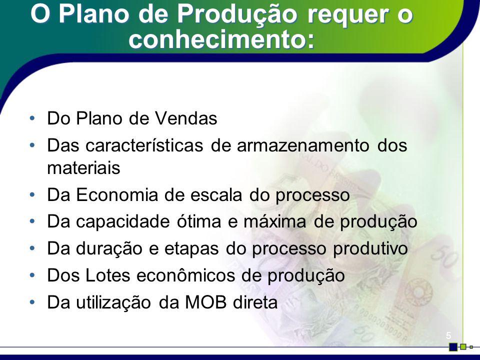 5 O Plano de Produção requer o conhecimento: Do Plano de Vendas Das características de armazenamento dos materiais Da Economia de escala do processo D