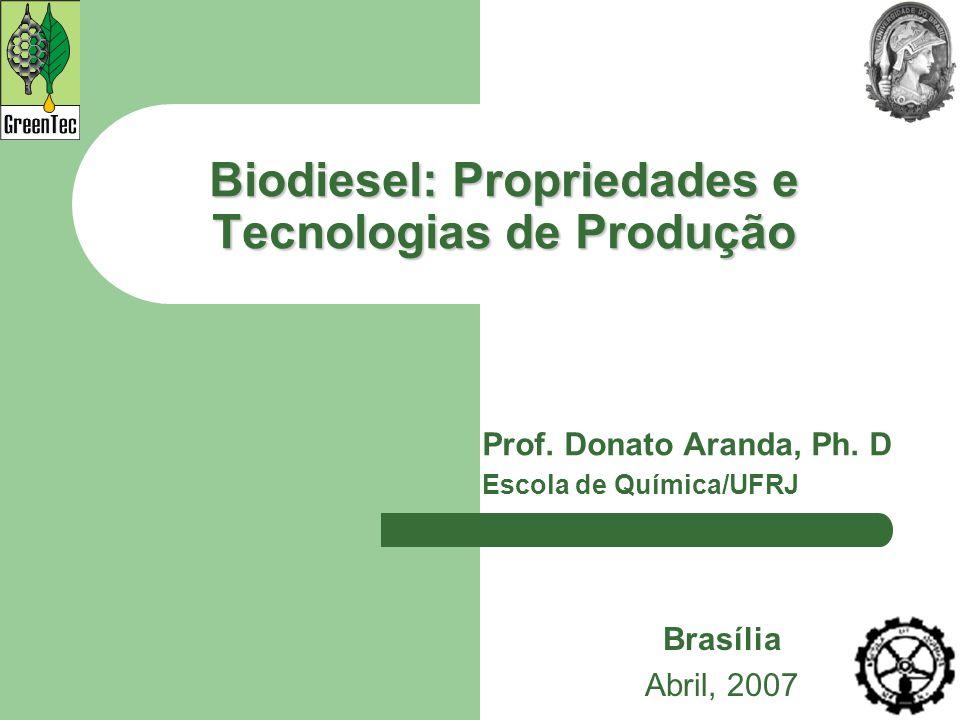 Biodiesel: Propriedades e Tecnologias de Produção Prof. Donato Aranda, Ph. D Escola de Química/UFRJ Brasília Abril, 2007