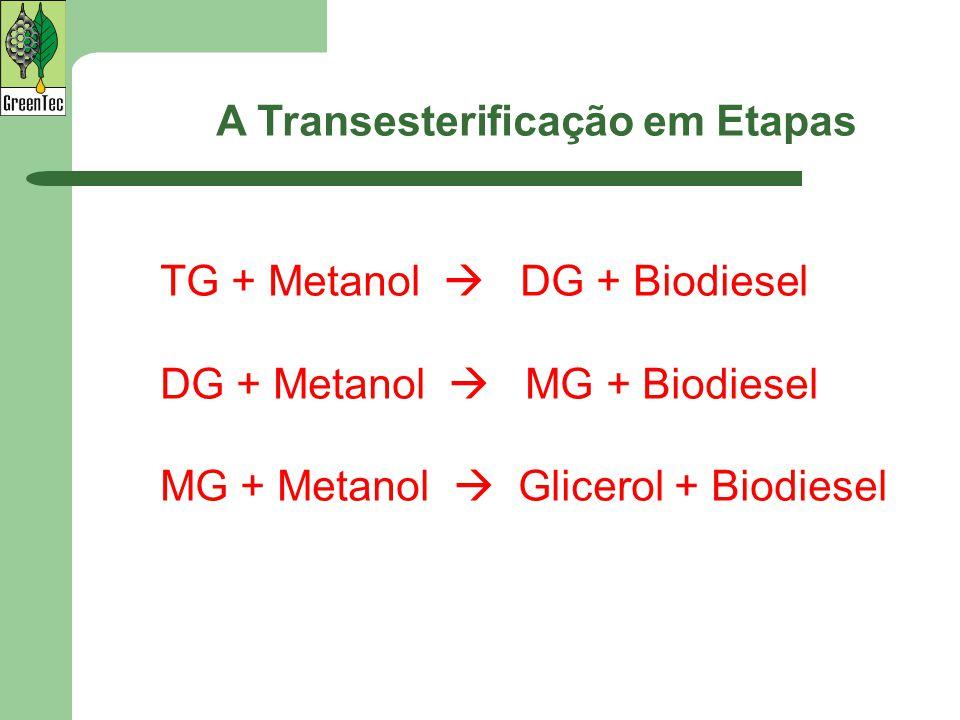 TG + Metanol  DG + Biodiesel DG + Metanol  MG + Biodiesel MG + Metanol  Glicerol + Biodiesel A Transesterificação em Etapas