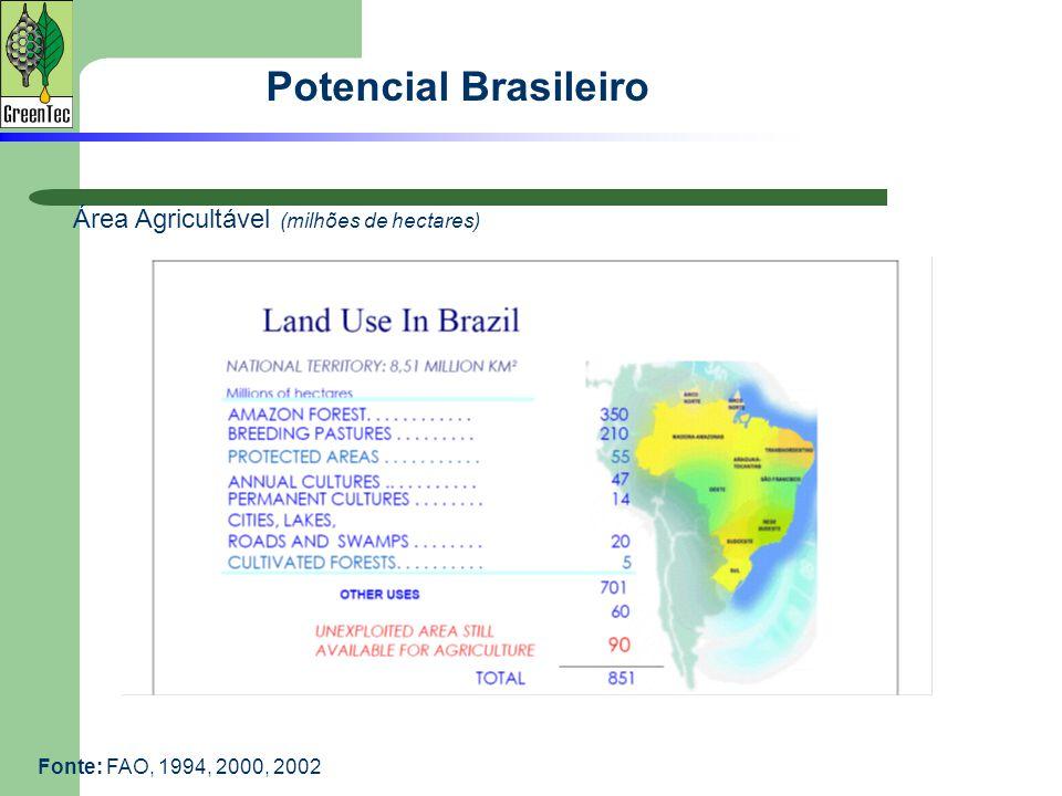 Potencial Brasileiro Área Agricultável (milhões de hectares) Fonte: FAO, 1994, 2000, 2002