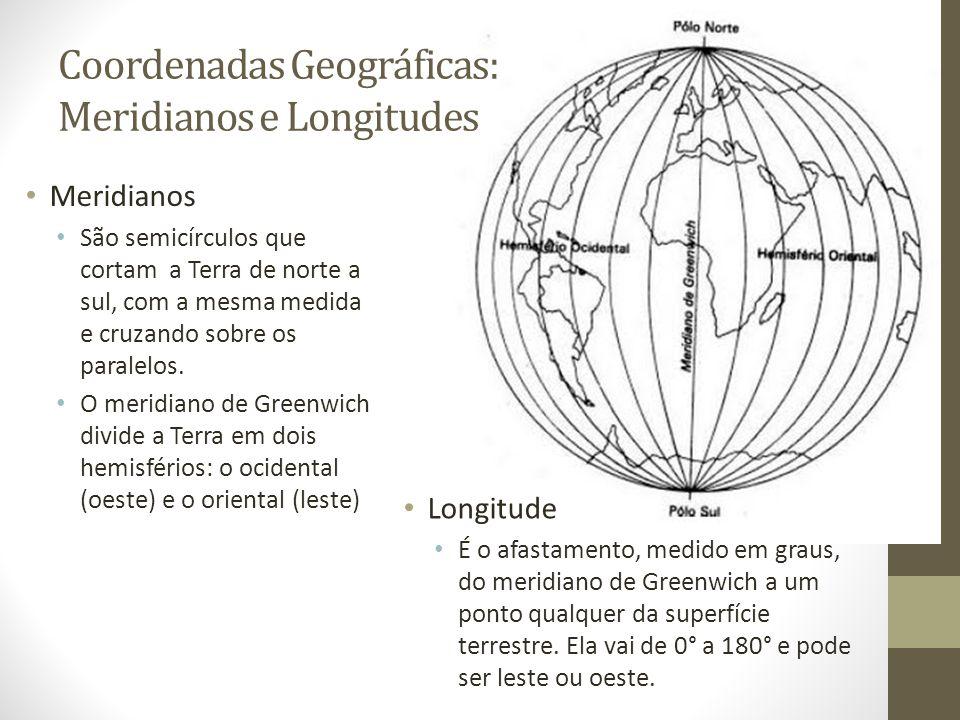 Coordenadas Geográficas: Meridianos e Longitudes Meridianos São semicírculos que cortam a Terra de norte a sul, com a mesma medida e cruzando sobre os