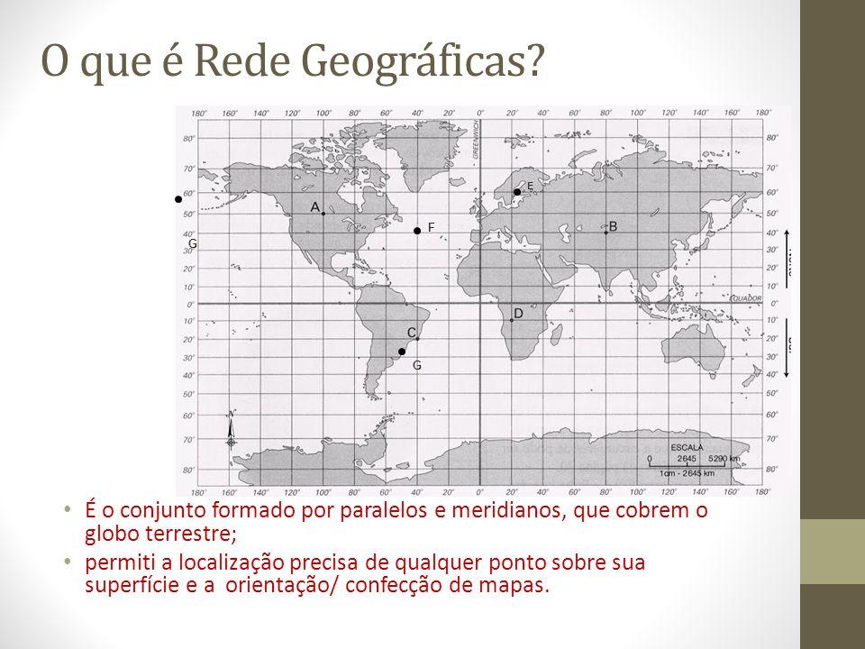 O que é Rede Geográficas? É o conjunto formado por paralelos e meridianos, que cobrem o globo terrestre; permiti a localização precisa de qualquer pon