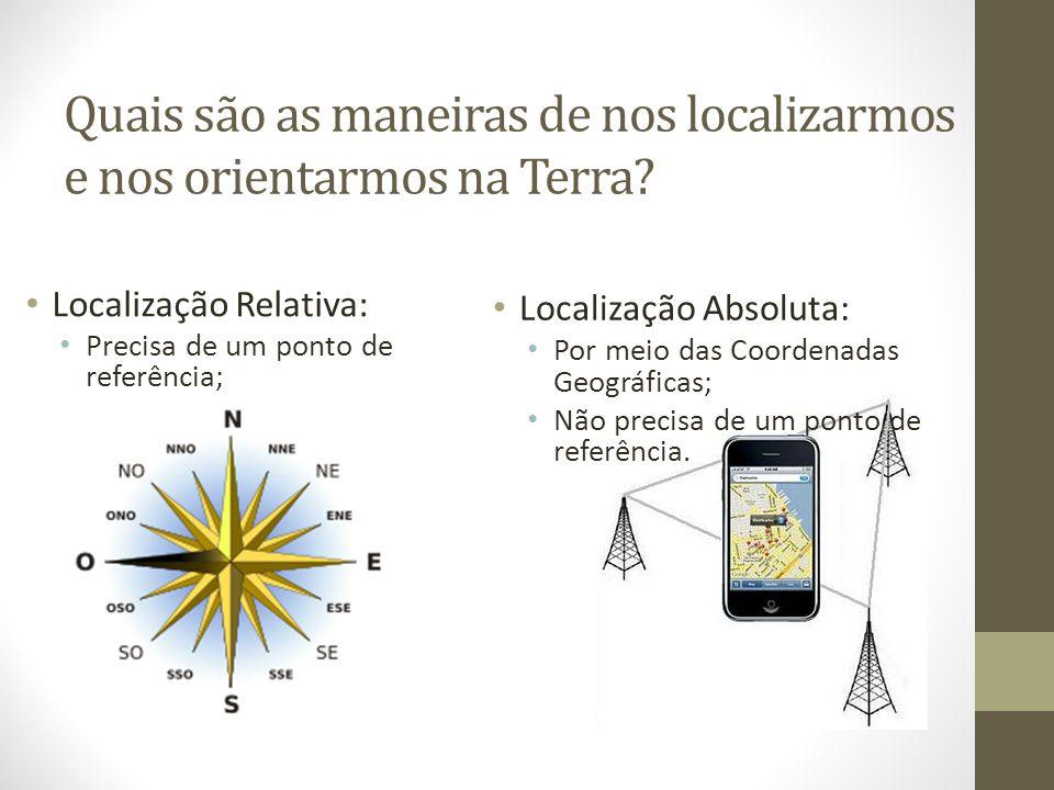 LOCALIZAÇÃO RELATIVA: Localização dos lugares em relação a outros.