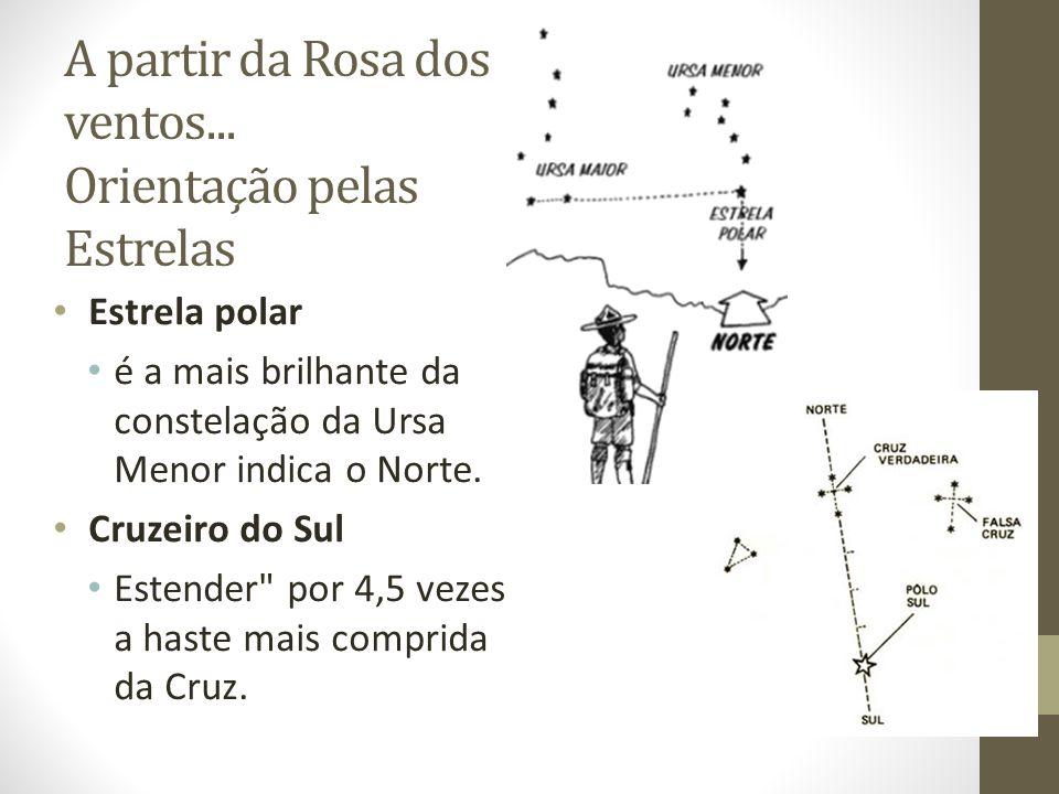 A partir da Rosa dos ventos... Orientação pelas Estrelas Estrela polar é a mais brilhante da constelação da Ursa Menor indica o Norte. Cruzeiro do Sul