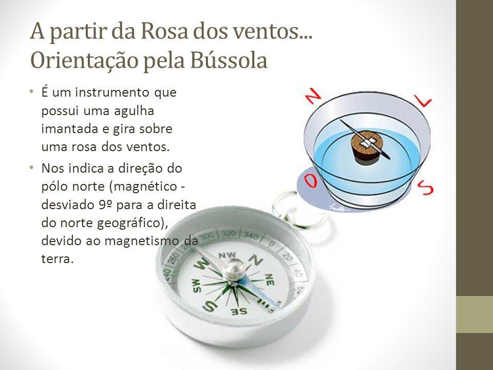 A partir da Rosa dos ventos... Orientação pela Bússola É um instrumento que possui uma agulha imantada e gira sobre uma rosa dos ventos. Nos indica a