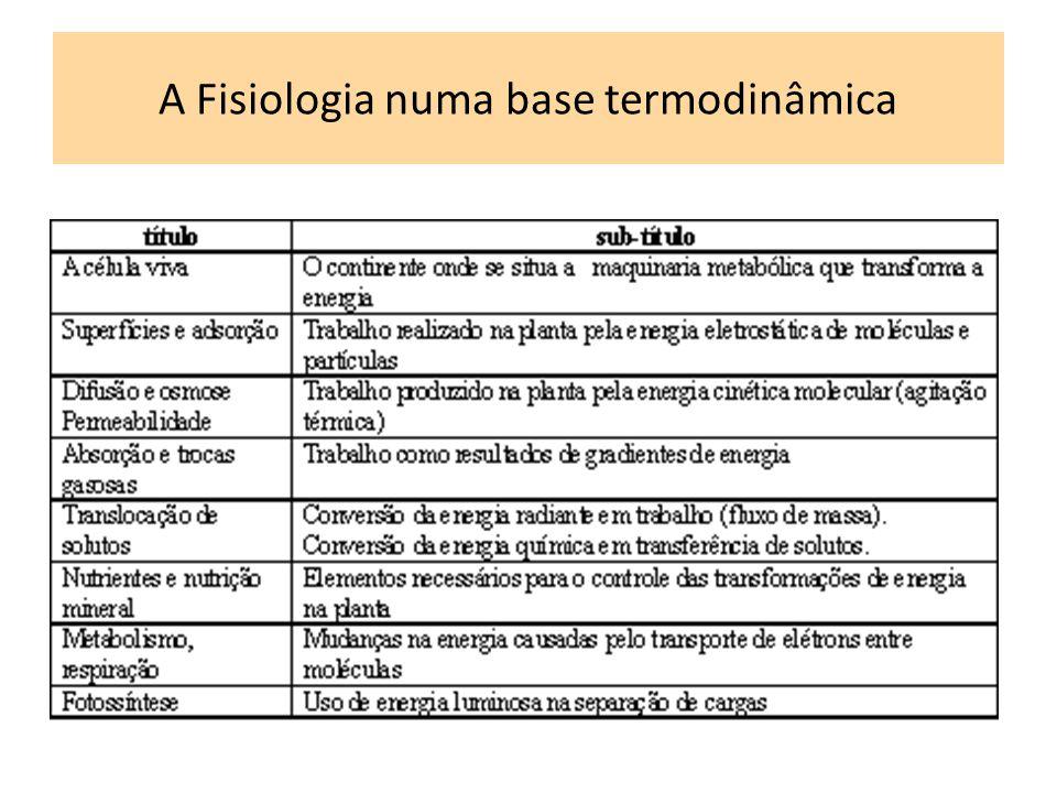 A Fisiologia numa base termodinâmica