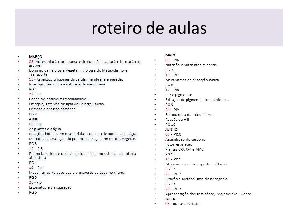 roteiro de aulas MARÇO 08 -Apresentação: programa, estruturação, avaliação, formação de grupos.