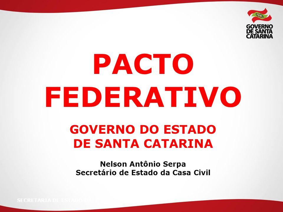 SECRETARIA DE ESTADO DA PACTO FEDERATIVO GOVERNO DO ESTADO DE SANTA CATARINA Nelson Antônio Serpa Secretário de Estado da Casa Civil
