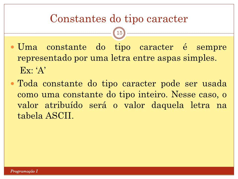 Constantes do tipo caracter Programação I 15 Uma constante do tipo caracter é sempre representado por uma letra entre aspas simples.