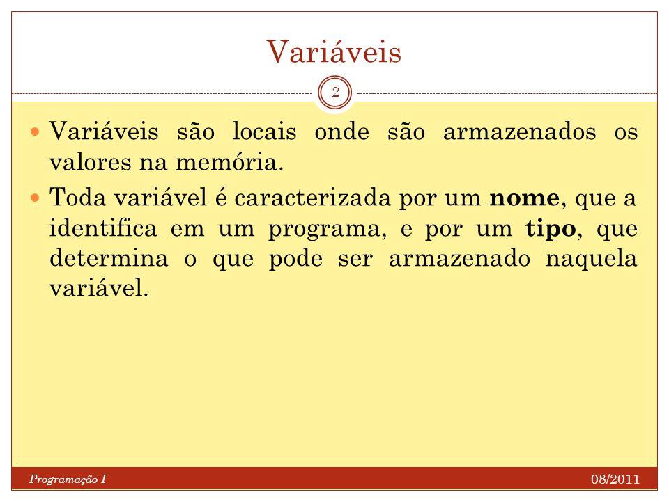 Variáveis Programação I 2 Variáveis são locais onde são armazenados os valores na memória.