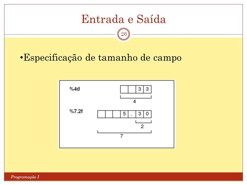 Entrada e Saída Programação I 26 Especificação de tamanho de campo