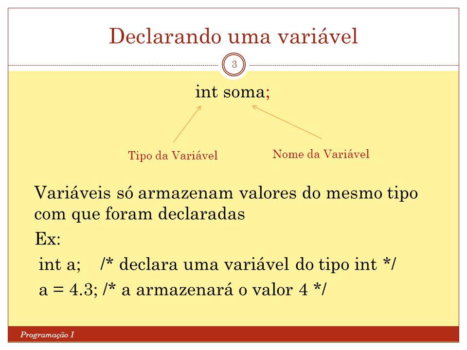 Declarando uma variável Programação I 3 int soma; Variáveis só armazenam valores do mesmo tipo com que foram declaradas Ex: int a; /* declara uma variável do tipo int */ a = 4.3; /* a armazenará o valor 4 */ Tipo da Variável Nome da Variável