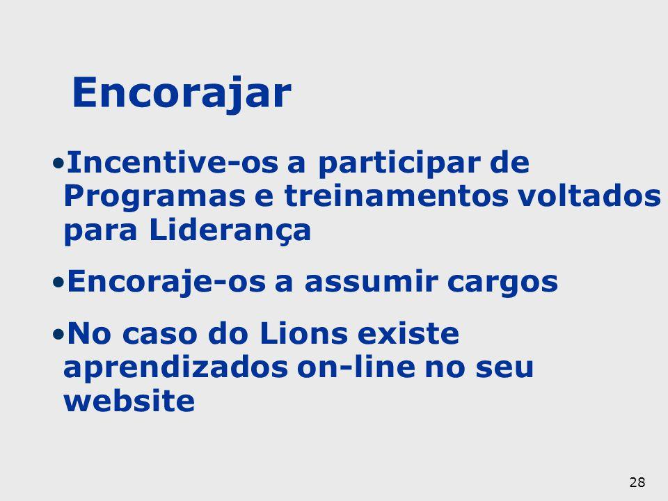28 Encorajar Incentive-os a participar de Programas e treinamentos voltados para Liderança Encoraje-os a assumir cargos No caso do Lions existe aprend