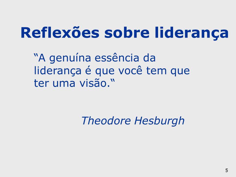 """5 """"A genuína essência da liderança é que você tem que ter uma visão."""" Theodore Hesburgh Reflexões sobre liderança"""
