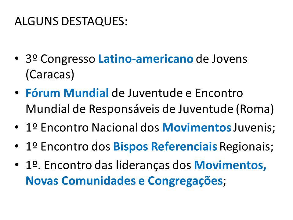 ALGUNS DESTAQUES: 3º Congresso Latino-americano de Jovens (Caracas) Fórum Mundial de Juventude e Encontro Mundial de Responsáveis de Juventude (Roma) 1º Encontro Nacional dos Movimentos Juvenis; 1º Encontro dos Bispos Referenciais Regionais; 1º.