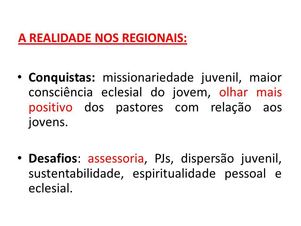 A REALIDADE NOS REGIONAIS: Conquistas: missionariedade juvenil, maior consciência eclesial do jovem, olhar mais positivo dos pastores com relação aos jovens.