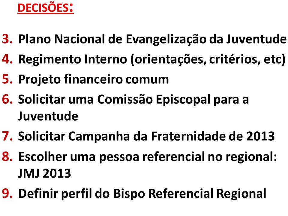 DECISÕES : 3. Plano Nacional de Evangelização da Juventude 4.