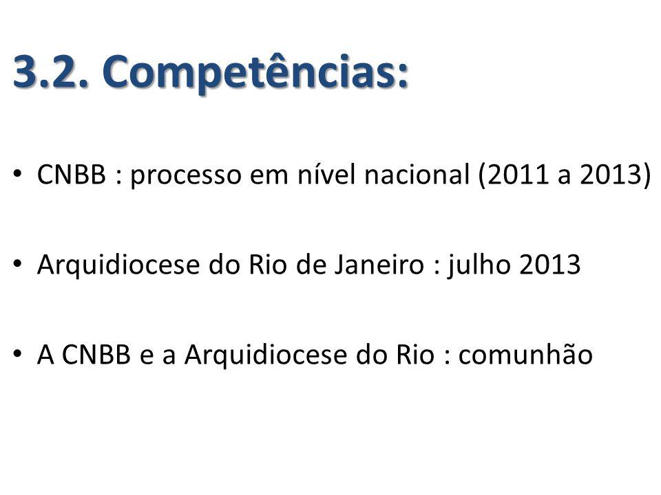 3.2. Competências: CNBB : processo em nível nacional (2011 a 2013) Arquidiocese do Rio de Janeiro : julho 2013 A CNBB e a Arquidiocese do Rio : comunh