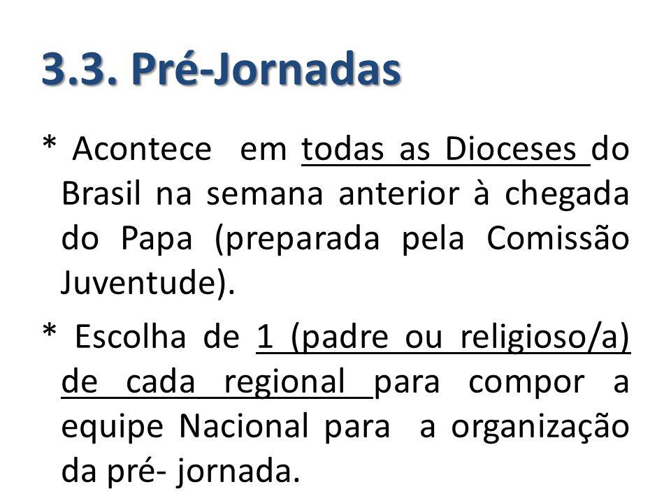 3.3. Pré-Jornadas * Acontece em todas as Dioceses do Brasil na semana anterior à chegada do Papa (preparada pela Comissão Juventude). * Escolha de 1 (