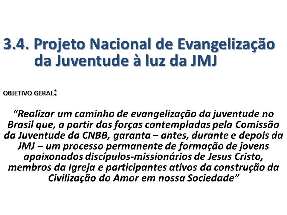 """3.4. Projeto Nacional de Evangelização da Juventude à luz da JMJ OBJETIVO GERAL : """"Realizar um caminho de evangelização da juventude no Brasil que, a"""