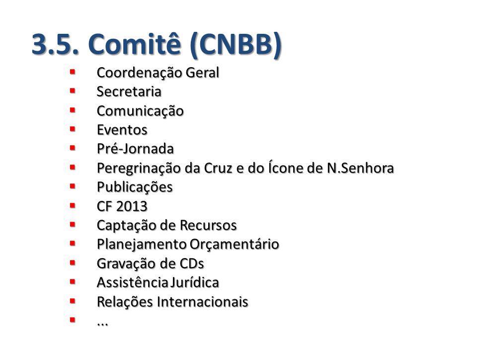 3.5. Comitê (CNBB)  Coordenação Geral  Secretaria  Comunicação  Eventos  Pré-Jornada  Peregrinação da Cruz e do Ícone de N.Senhora  Publicações