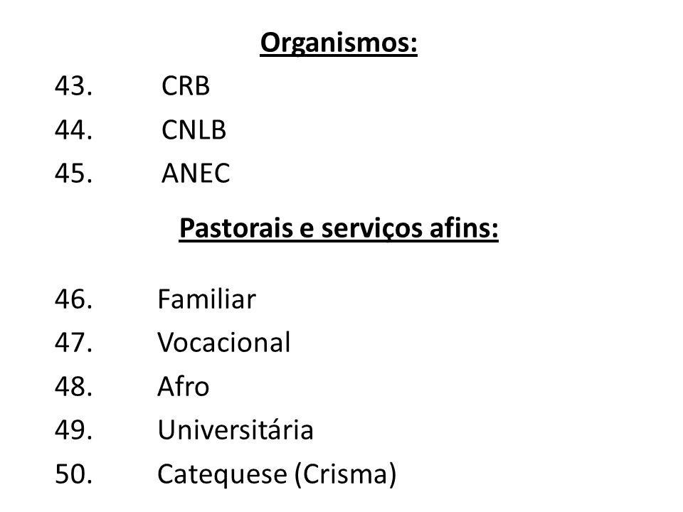 Pastorais e serviços afins: 46.Familiar 47.