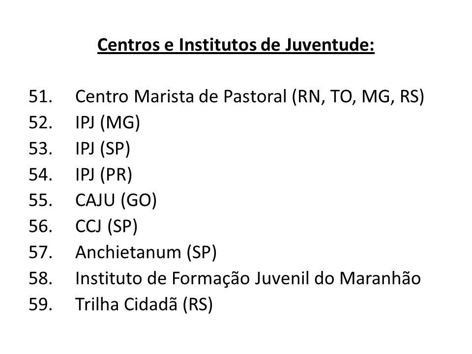 Centros e Institutos de Juventude: 51.Centro Marista de Pastoral (RN, TO, MG, RS) 52.IPJ (MG) 53.IPJ (SP) 54.IPJ (PR) 55.CAJU (GO) 56.CCJ (SP) 57.Anchietanum (SP) 58.Instituto de Formação Juvenil do Maranhão 59.Trilha Cidadã (RS)