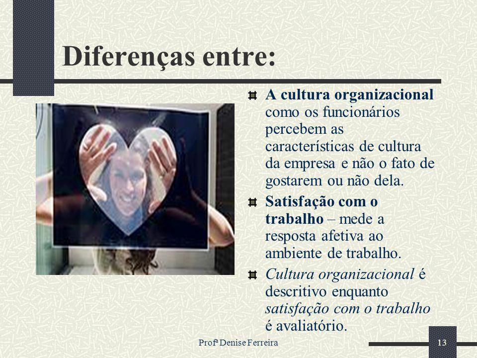 Profª Denise Ferreira13 Diferenças entre: A cultura organizacional como os funcionários percebem as características de cultura da empresa e não o fato