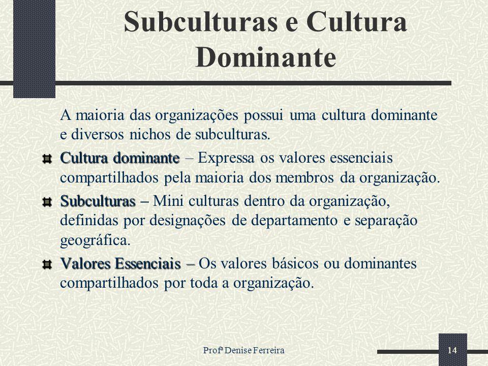 Profª Denise Ferreira14 Subculturas e Cultura Dominante A maioria das organizações possui uma cultura dominante e diversos nichos de subculturas. Cult