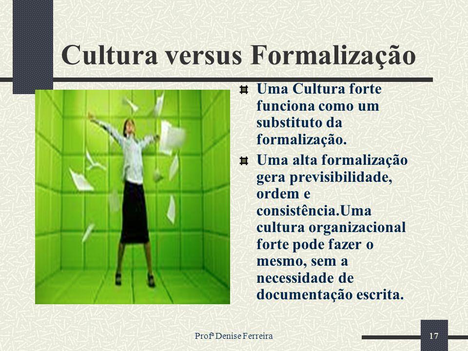 Profª Denise Ferreira17 Cultura versus Formalização Uma Cultura forte funciona como um substituto da formalização. Uma alta formalização gera previsib
