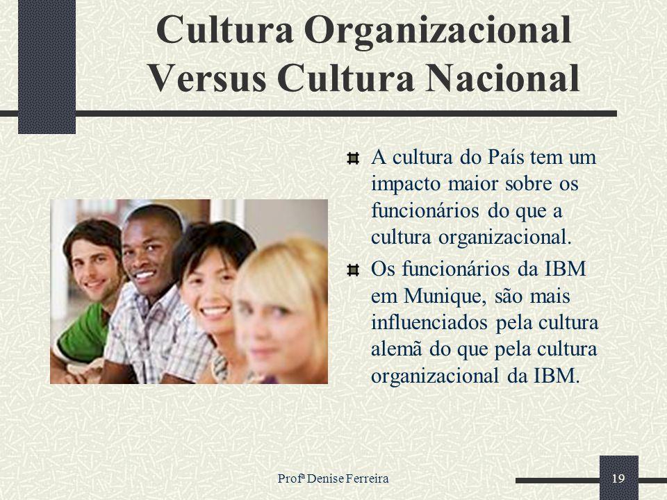 Profª Denise Ferreira19 Cultura Organizacional Versus Cultura Nacional A cultura do País tem um impacto maior sobre os funcionários do que a cultura o