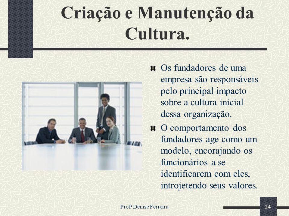 Profª Denise Ferreira24 Criação e Manutenção da Cultura. Os fundadores de uma empresa são responsáveis pelo principal impacto sobre a cultura inicial