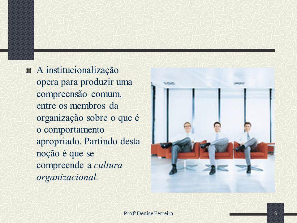 Profª Denise Ferreira3 A institucionalização opera para produzir uma compreensão comum, entre os membros da organização sobre o que é o comportamento