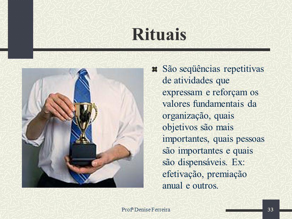 Profª Denise Ferreira33 Rituais São seqüências repetitivas de atividades que expressam e reforçam os valores fundamentais da organização, quais objeti