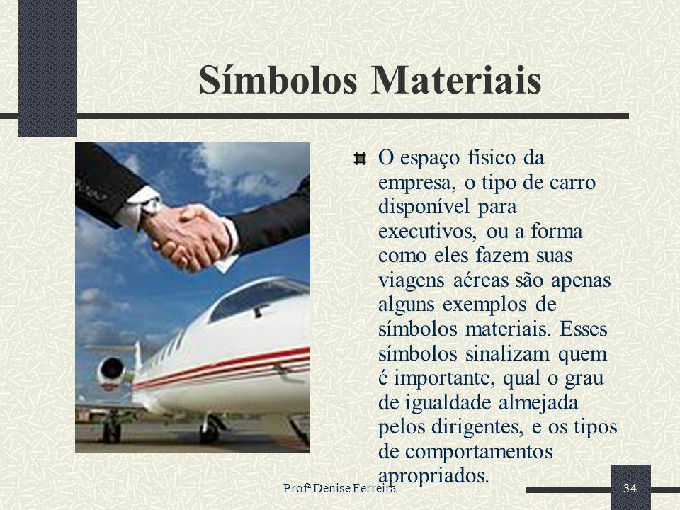 Profª Denise Ferreira34 Símbolos Materiais O espaço físico da empresa, o tipo de carro disponível para executivos, ou a forma como eles fazem suas via