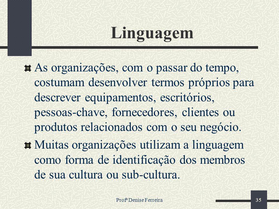 Profª Denise Ferreira35 Linguagem As organizações, com o passar do tempo, costumam desenvolver termos próprios para descrever equipamentos, escritório