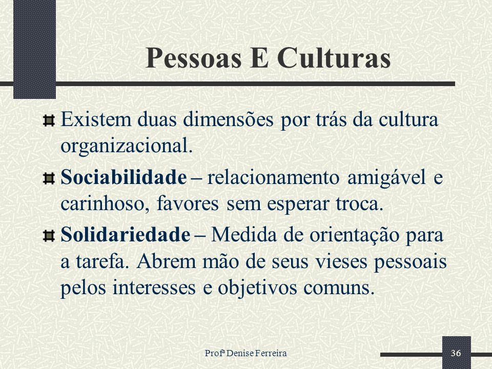 Profª Denise Ferreira36 Pessoas E Culturas Existem duas dimensões por trás da cultura organizacional. Sociabilidade – relacionamento amigável e carinh