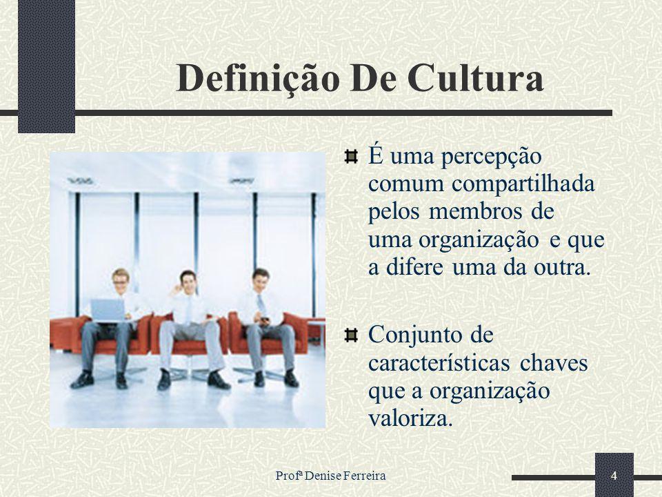 Profª Denise Ferreira4 Definição De Cultura É uma percepção comum compartilhada pelos membros de uma organização e que a difere uma da outra. Conjunto