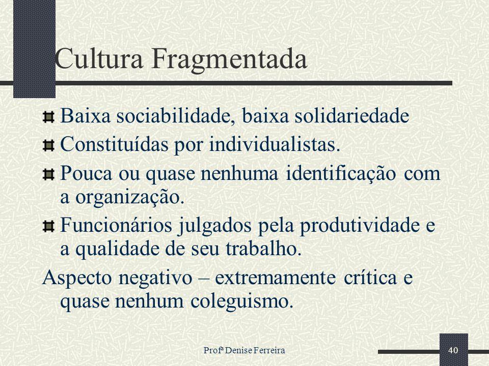 Profª Denise Ferreira40 Cultura Fragmentada Baixa sociabilidade, baixa solidariedade Constituídas por individualistas. Pouca ou quase nenhuma identifi