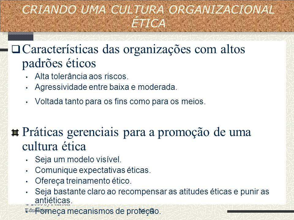 © 2006 by Pearson Education16–42  Características das organizações com altos padrões éticos Alta tolerância aos riscos. Agressividade entre baixa e m
