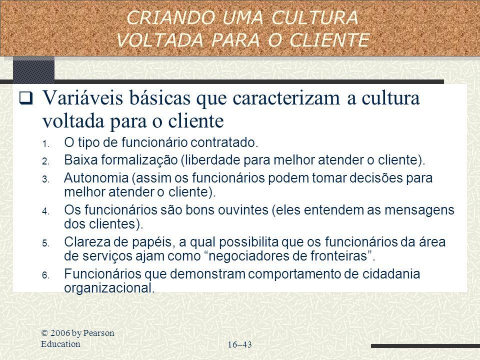 © 2006 by Pearson Education16–43  Variáveis básicas que caracterizam a cultura voltada para o cliente 1. O tipo de funcionário contratado. 2. Baixa f