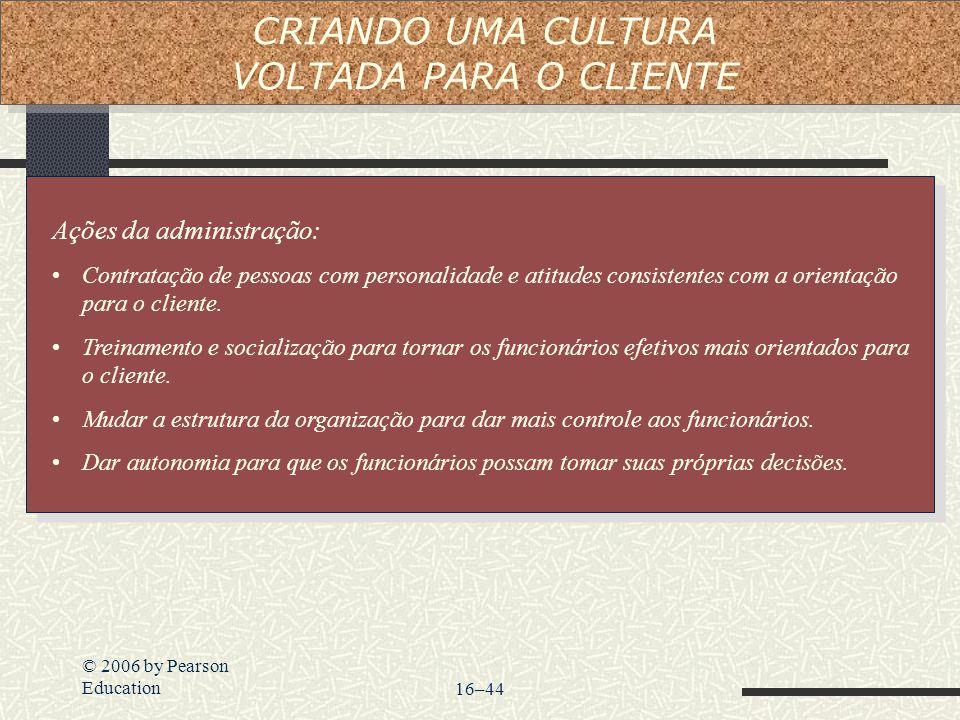 © 2006 by Pearson Education16–44 Ações da administração: Contratação de pessoas com personalidade e atitudes consistentes com a orientação para o clie