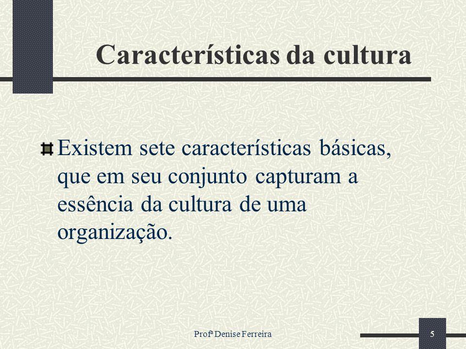 Profª Denise Ferreira5 Características da cultura Existem sete características básicas, que em seu conjunto capturam a essência da cultura de uma orga